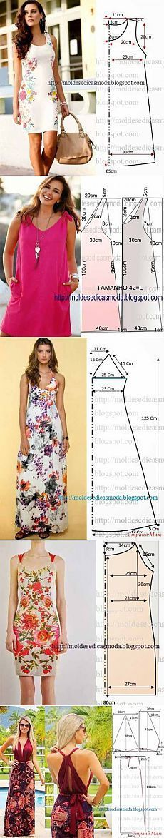 Los patrones simples de los vestidos veraniegos y los sarafanes Coat Patterns, Clothing Patterns, Dress Patterns, Sewing Patterns, Sewing Dress, Sewing Clothes, Fashion Sewing, Diy Fashion, Diy Vetement