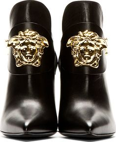 Versace Black Leather Boot With Gold Medusa | FW 2014 | cynthia reccord