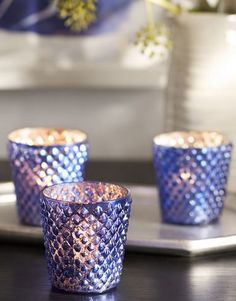 blue mercury votive cups - up to 25% off with code: SAVEMORE  http://rstyle.me/n/v5xeepdpe