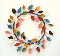 All Season Wreath - Felt Leaf Wreath - Modern and Colorful Decor