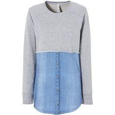 Cooles graues Sweatshirt von RAINBOW. Der Jeanshemdeneinsatz ab der Taille macht dieses Sweatshirt unverwechselbar! ♥ ab 29,99 €