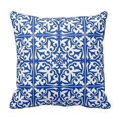 Marokkaanse tegel - kobaltblauw en wit decoratie kussen