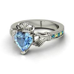 Heart Aquamarine Palladium Ring with Ruby - lay_down