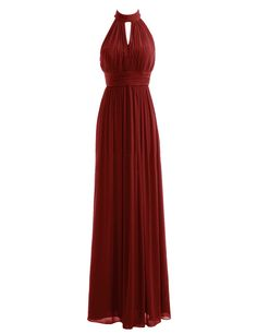 Diyouth High Neck Long Bridesmaid Dresses Slit Prom Evening Gowns Burgundy Size 2
