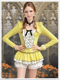 Morpheus Boutique  - Yellow Ruffle Bow Long Sleeve Layer Pleated Shirt