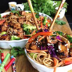 Ponzu Glazed Beyond Chicken with Spicy Soba Noodles and Vegetables #vegan
