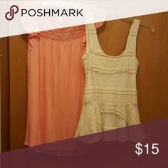 Baby doll tunic/lace tank bundle This bundle is for a peach color baby doll tunic and lace scoop neck tank. The tank is open midway down the back same as front. It has an under lining fabric. Good condition. Peach tunic is medium lace tank is small. Tops Tunics