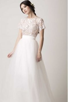 Mixed texture, yay! Also like the volume of the skirt. This Cut Out Back Pairing | 36 Ultra-Glamorous Two-Piece Wedding Dresses