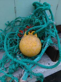 Oude Brocante Bundel Visnet Drijver aan Touw
