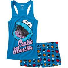 859fdcc024f91 ONLINE - Juniors Cookie Monster Tank And Sleep Sh - Walmart.com