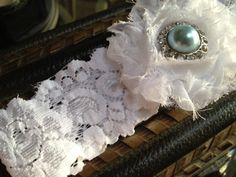 Something Blue Garter WHITE or IVORY by LolaBridalDesigns on Etsy,