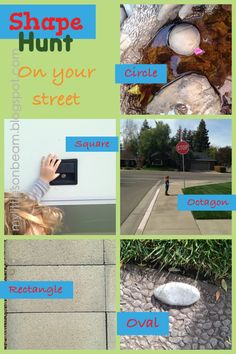 Mylittlesonbeam.blogspot.com  Shape hunt! Fun simple and easy learning activity you can do right on your front yard and neighborhood!   {homeschool preschool lesson plans, curriculum ideas for 2 3 4 year olds}