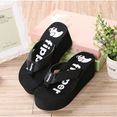 452d057a0d3a40 Summer Flip Flops Women Sandals 2016 New Women s Slippers Flip Flops  Fashion High Heels Thick Crust
