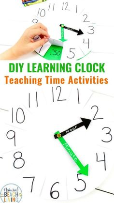 How to Teach Telling Time DIY Paper Clock Activity, Use this learning clock to help teach your kids to tell time. It perfect for easy hands on Teaching Time Activities, Telling Time Activities and Fun Ways to Teach Time #teach #crafts #firstgrade #diyclock #diy