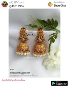 Gold Jhumka Earrings, Jewelry Design Earrings, Gold Earrings Designs, Gold Jewellery Design, Antique Earrings, Gold Mangalsutra Designs, Gold Jewelry Simple, Silver Jewellery Indian, Jewelry Patterns
