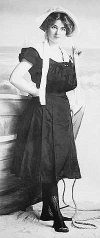 There were varieties of style and color in turn-of-the-century bathing suits. The more conservative women stuck to the plain black taffeta or mohair bathing suit with just a slight touch of color about the collar and belt. These were not as attractive as the bright colored or striped bathing suits seen at the more fashionable sea-shore resorts.