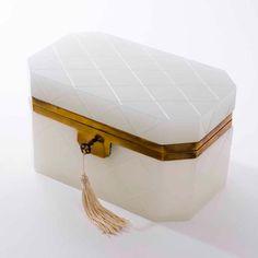 white opaline glass casket