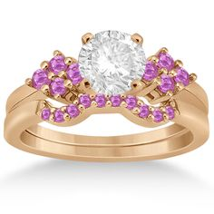 Pink Sapphire Engagement Ring & Wedding Band 14k Rose Gold (0.50ct) -Allurez.com