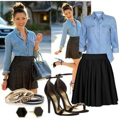 Bez tytułu #414 - denim shirt & black full gathered skirt