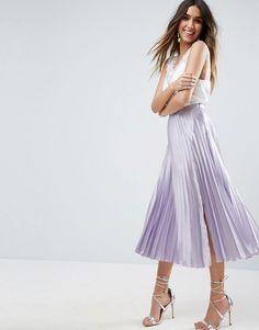 c5101532b ASOS Satin Pleated Midi Skirt with Thigh Split - Purple Satin Pleated  Skirt