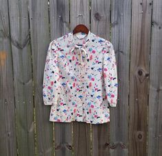 S M Small Medium Vintage Shirt 80s Abstract by PinkCheetahVintage