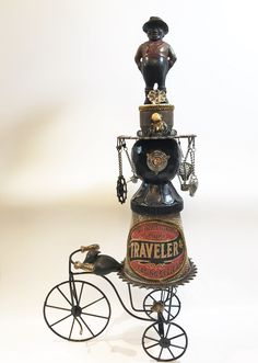 Travelin' Man Assemblage piece - Vintage bank piece, found junk and some new pieces mixed in. Approximately 2' tall #assemblageArtwork #foundart Found Art, Assemblages, Altered Art, Artwork, Vintage, Work Of Art, Vintage Comics, Primitive, Found Object Art