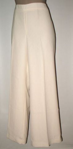 NWT Talbots Heritage Fit Crepe Wide Leg Pants 16 - Ivory SIDE ZIP #Talbots #SideZipWideLegDressyorCareer