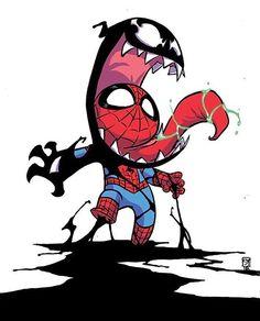 Venomized by Skottie Young : comicbooks Spiderman 2, Spiderman Kunst, Amazing Spiderman, Chibi Marvel, Marvel Art, Marvel Heroes, Marvel Venom, Marvel Avengers, Cartoon Kunst