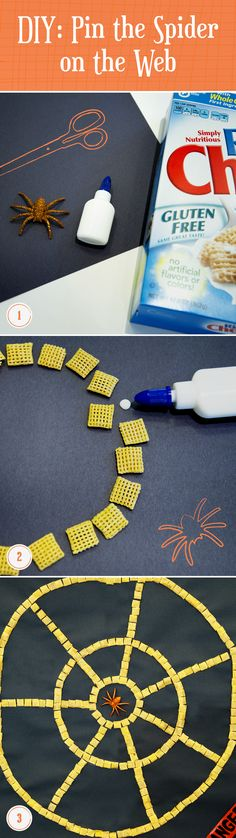 Pull off this simple DIY pin-the-spider-to-the web game for your little monsters. 1. You'll need paper, glue, Chex Cereal, and a spider! 2. Glue the Chex to the paper in the shape of a spider web. 3. Hang your masterpiece on the wall. 4. Spin your party guests around blindfolded and see how close they can get to the middle!