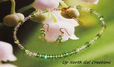 Necklace and Earring Set, Green Crystals, Clear Crystals, Swarovski Crystal Rondelles, Lobster Clasp, under 35 Dollars, Made in Michigan,