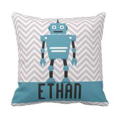 Personalized Boys Blue Robot Pillow