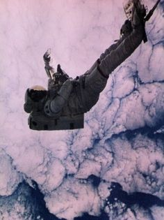man suspended in space