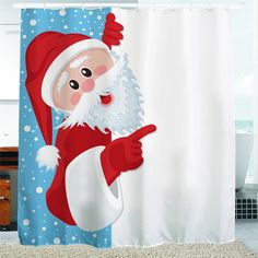 150/180/200*180cm Christmas Naughty Santa Claus Shower Curtain Bath Decorations Xmas Fun Waterproof Mildewproof Polyester T35