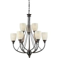 """Check out the Forte Lighting 2278-09-32 21""""W 9 Light Chandelier in Antique Bronze"""