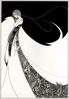 Graphic Bold Elegant Black and White Ink Illustration by Aubrey Beardsley Golden age of illustration Art Deco. Illustration Art Nouveau, Pen Illustration, Jugendstil Design, Aubrey Beardsley, Drawn Art, Inspiration Art, Art Nouveau Design, Design Art, Alphonse Mucha