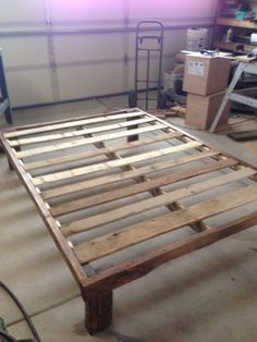 Diy pallet bed frame/pallet project. My first big project. Lots of help from the hubby! Check out the headboard to!