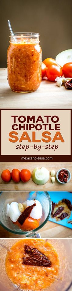 This Tomato Chipotle Salsa has a rich, smoky flavor from the delightful chipotles in adobo. And if you roast the tomatoes you end up with a warm, authentic salsa -- so good!  http://mexicanplease.com