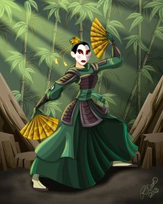 cartooncookie.tumblr: Mulan of the Kyoshi Warriors. Who better to be a member of the Kyoshi Warrior clan? This is my 5th installment of the Disney/Avatar mashup. Thank you for following me. Enjoy!