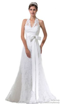 Faironly White Ivory Lace Custom Wedding Dress Bridal Gown Size 6 8 10 12 14 16+
