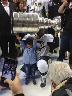Kris and Alexandre Letang with Lord Stanley. 6/12/16