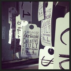 Creative window display - Typography sale tickets or mmda donations