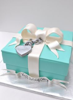 Tiffany birthday cake box jewels bracelet giant bow birthday