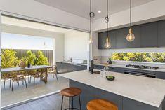 4011 Cloudburst Concrete™ by Caesarstone Modern Grey Kitchen, Modern Kitchen Cabinets, Contemporary Kitchen Design, Grey Cabinets, Black Kitchens, Kitchen Countertops, Kitchen Inspiration, Kitchen Ideas, Design Inspiration