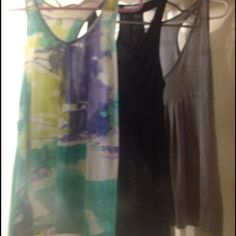 Set of 3 Tanks! All XS, brands: Timing (green tank), Silence + Noise (black tank), H&M (silver/slate tank) Tops