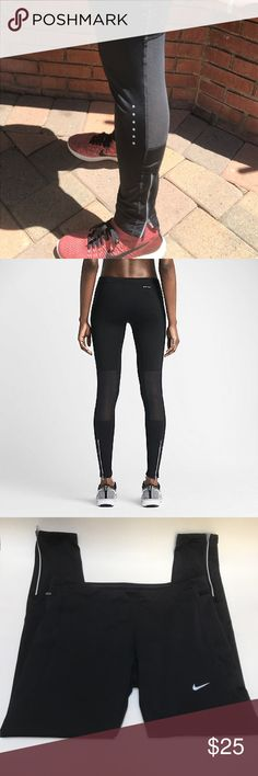 Nike WMNs Tech Tight Fit Running Pants These are Nike WMNs Tech Tight Fit Running Pants. Worn a few times. Dri-Fit technology. Mesh back panels as seen in pic. Zipper closures at bottom. Reflective details. Machine wash cold. Nike Pants