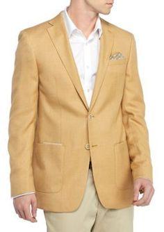 Tallia Orange  Slim-Fit Yellow Solid Basketweave Sport Coat