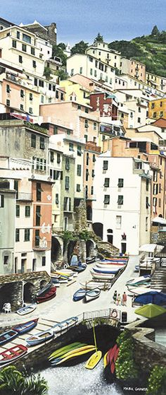 For Cinque Terre fans you may recognize this slice of Riomaggiore.  This town is the most southernly of the 5 towns.  Take the town to town walk, then catch the boat from where this painting is done, back north.