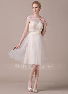 A-Line/Princess Scoop Neck Knee-Length Tulle Charmeuse Lace Wedding Dress (002059207) - JJsHouse