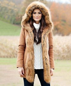 Look at this Donna Salyers' Fabulous-Furs Taupe Faux Fur-Trim Hooded Coat - Plus Too on today! Ladies Hooded Coats, Coats For Women, Taupe, Fabulous Furs, Suede Coat, Beige Coat, Suede Leather, Cold Weather Fashion, Winter Fashion Outfits