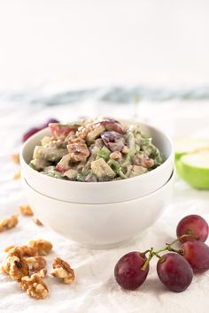 I'm obsessed with this vegan Waldorf salad. The dressing is so creamy, but is healthier and lighter than the traditional one.